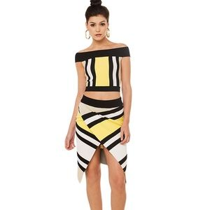 Yellow Stripe Skirt Set